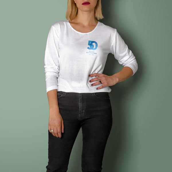 Woman wearing Boardriders 50th anniversary t shirt