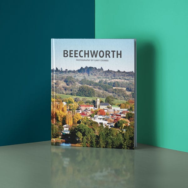 Beechworth book against two tone background