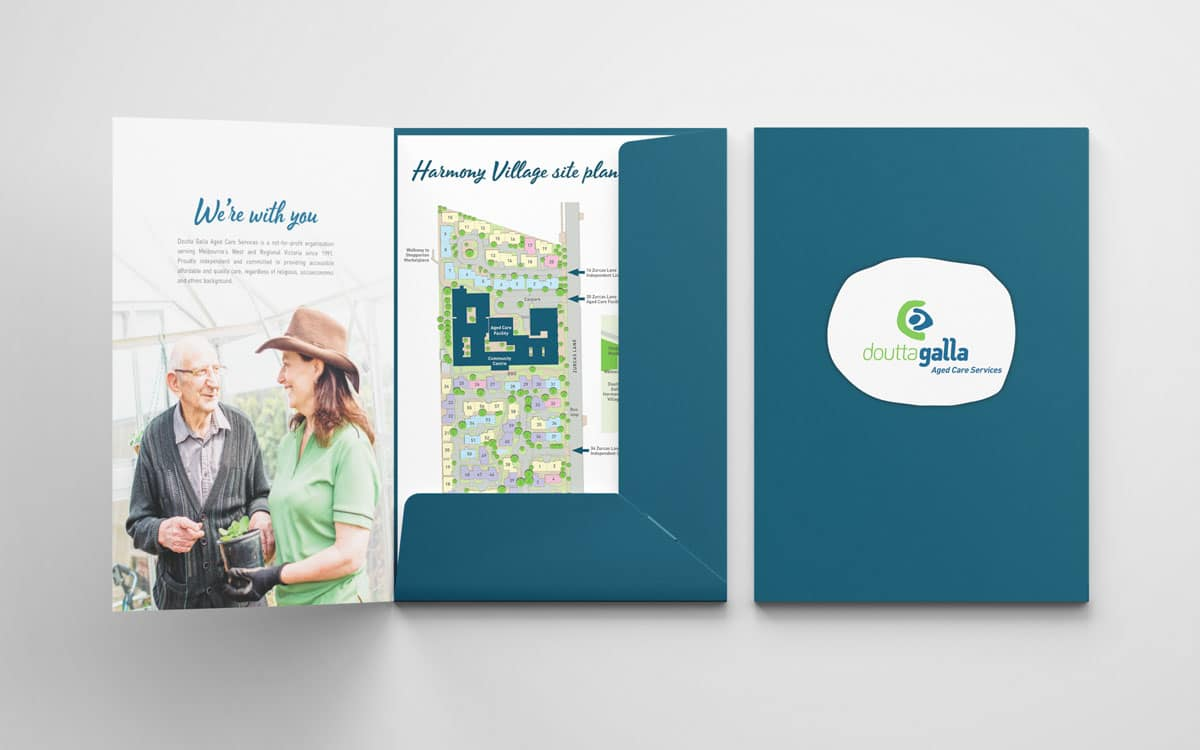 Doutta Galla corporate folder with site plan