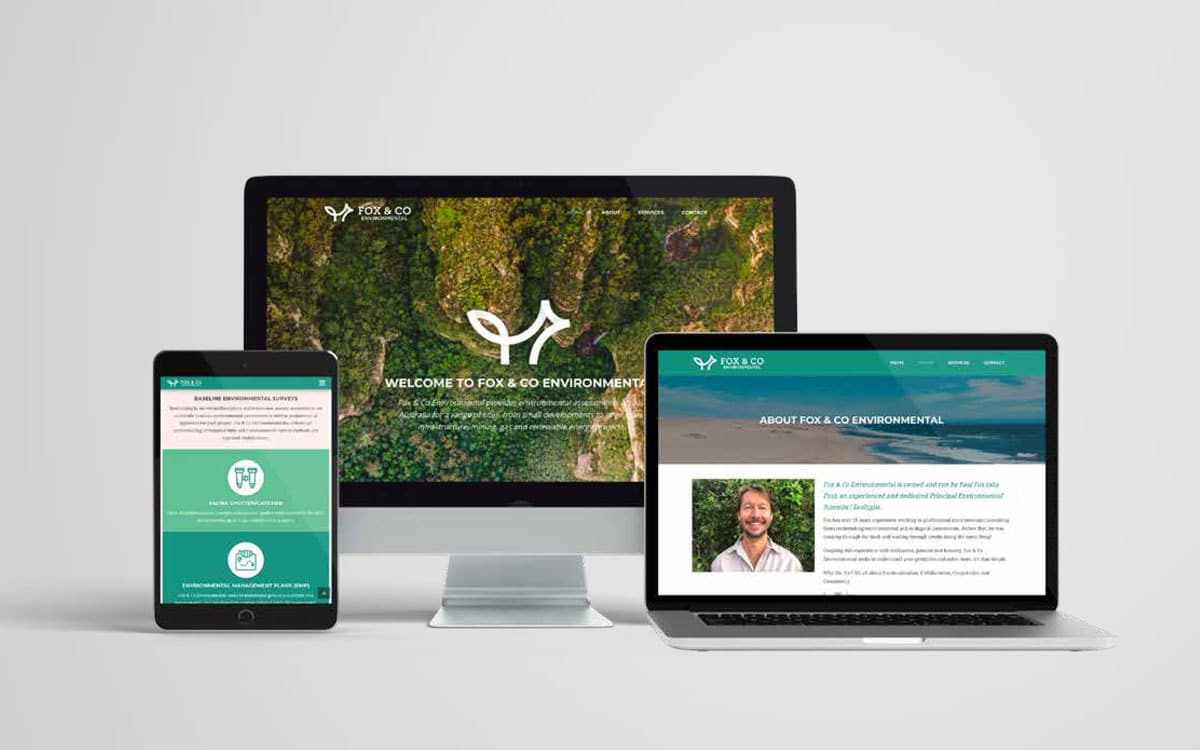 Fox & Co Environmental website on various screens