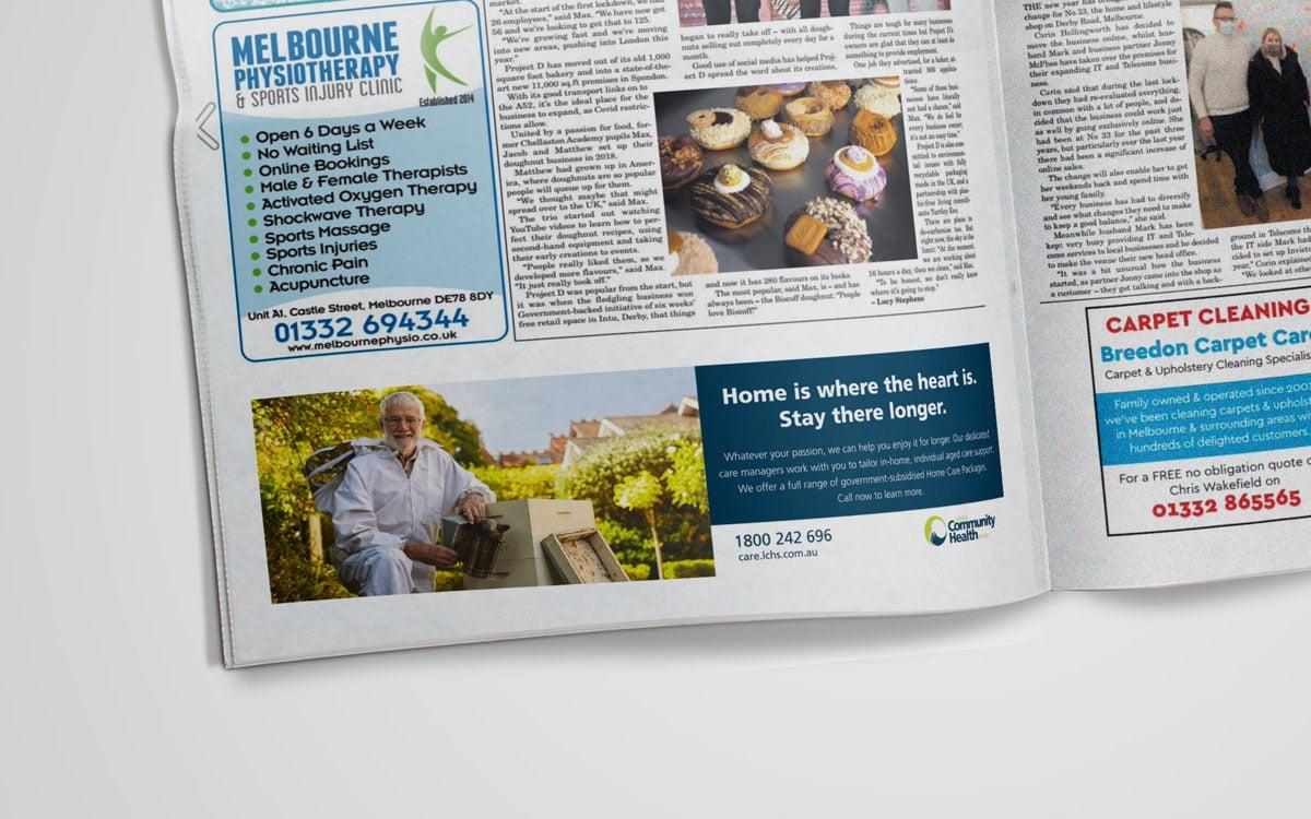 Latrobe Community Health strip ad of man with bees