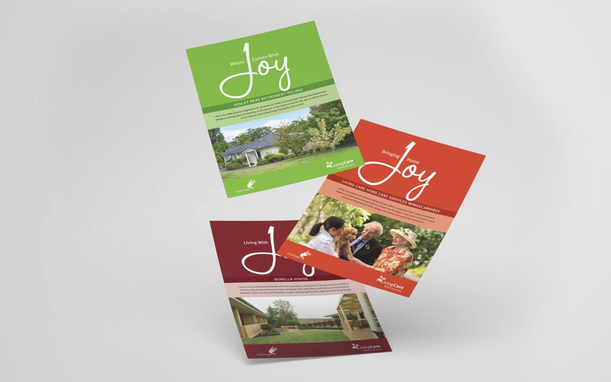 3 Living Care brochure covers. Retirement, home care and residential care