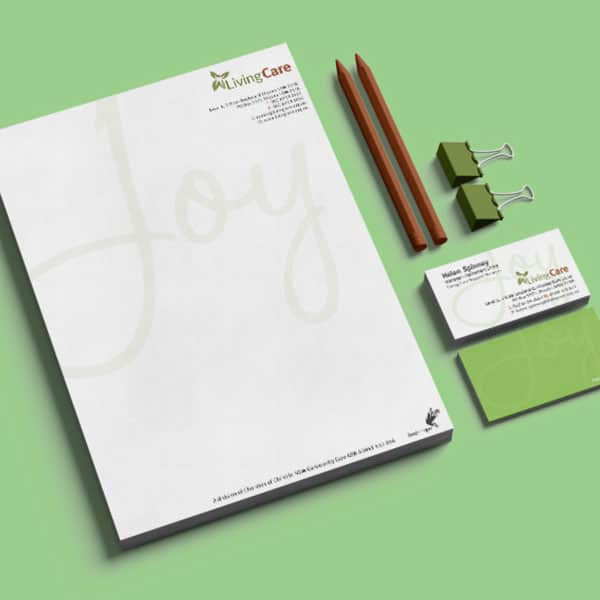 Living Care stationery; letterhead, busienss card and pencils
