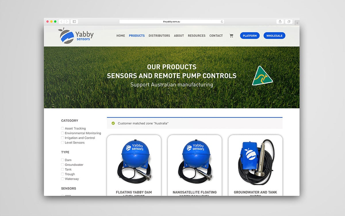 The Yabby products page of website