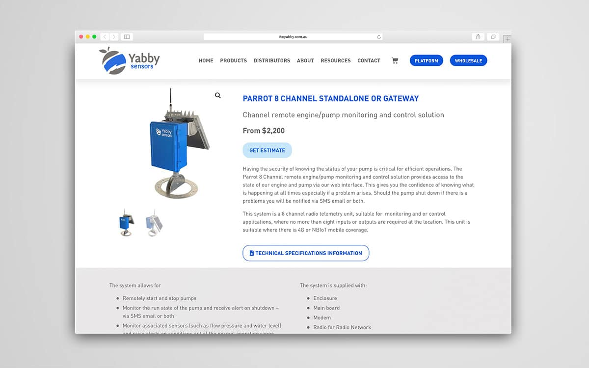 The Yabby product page of website